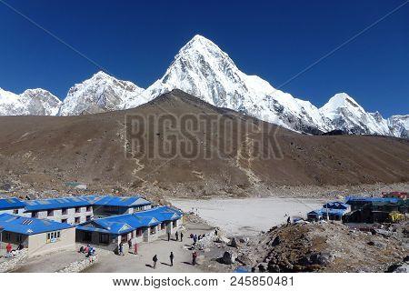 Mount Pumori Seen From Gorak Shep, Everest Base Camp Trek, Nepal