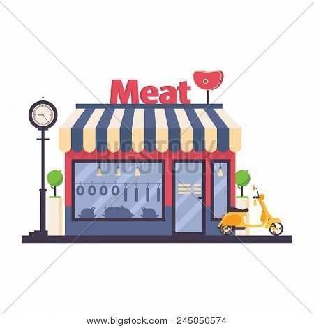 Butcher Shop Solated On White. Vector Storefront With Large Word Meat On Rooftop. Food Silhouettes O