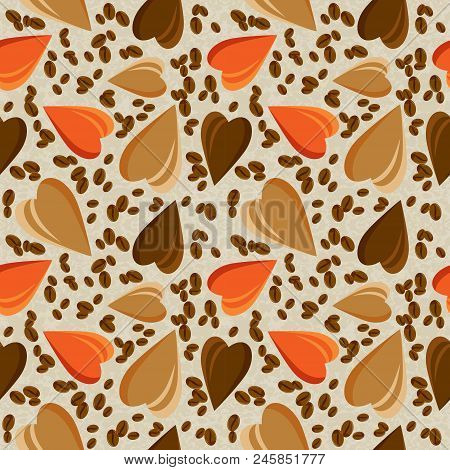 Seamless Pattern With Realistic  Coffee Beans. Coffee Background, Seamless Pattern Design For Coffee