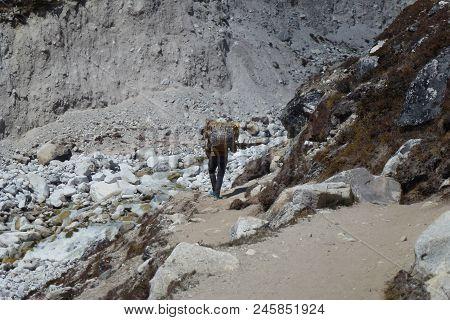 A Nepalese Porter In Dingboche, Everest Base Camp Trek, Nepal