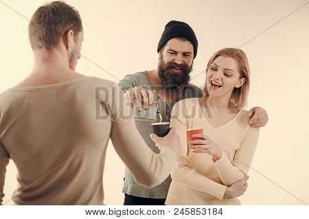 Alcohol Party. Guys Hold Cup, Flask With Alcohol, Speak. Company Of Cheerful Friends Spend Leisure W