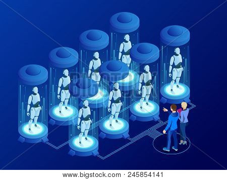 Isometric Artificial Intelligence In Robots. Technology And Engineering. Scientists Engineer Designs