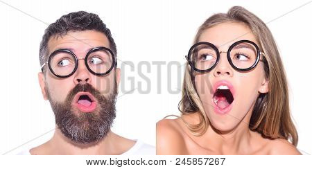 Emotion Set Of Pretty Girl And Bearded Man. Girl In Glasses. Bearded Man In Glasses. Face Expression
