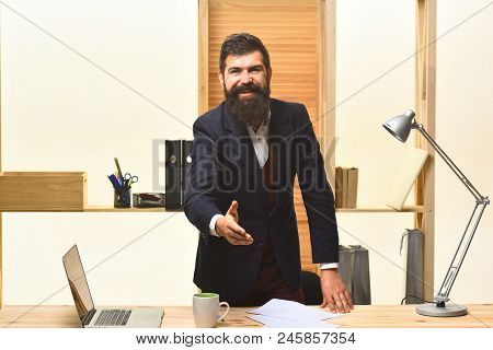 Successful Businessman Welcoming. Handshaking. Portrait Of Bearded Businessman. Smiled Businessman I