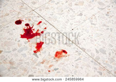 Blood On The Floor As Symbol Of Crime And Violence.