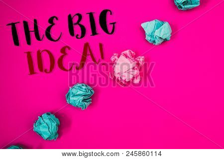 Handwriting Textss Writing The Big Idea Motivational Call. Concept Meaning Have A Successful Idea Sm