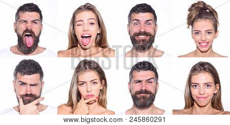 Emoji Set Of Woman And Bearded Man. Collage Of Emotions. Different Emotions. Feeling And Emotions. F