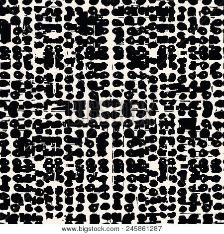 White Black Dot Pattern. Vector Shibori Spotty Seamless Print. Organic Hipster Batik Background. Tie
