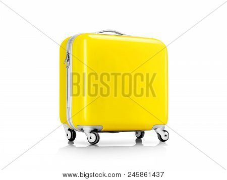 Yellow Plastic Suitcase Or Luggage For Traveler Isolated On White Background With Clipping Path