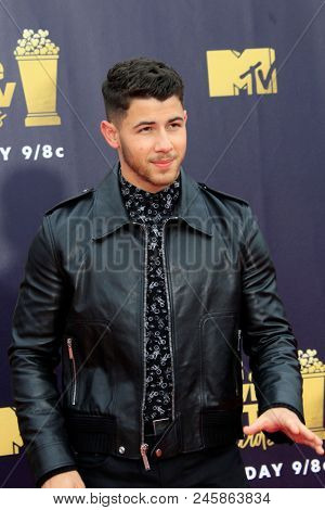 LOS ANGELES - JUN 16:  Nick Jonas at the 2018 MTV Movie And TV Awards at the Barker Hanger on June 16, 2018 in Santa Monica, CA