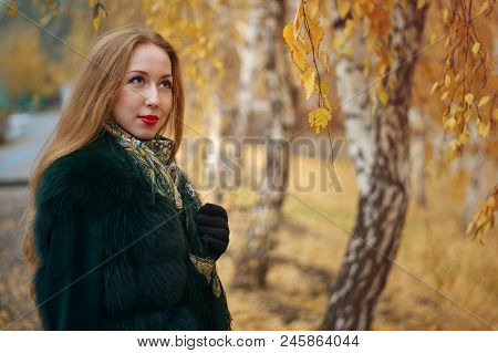 Red-haired Girl In Autumn Park