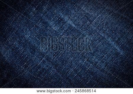 Denim Jeans Texture Or Denim Jeans Background. Old Grunge Vintage Denim Jeans. Stitched Texture Deni