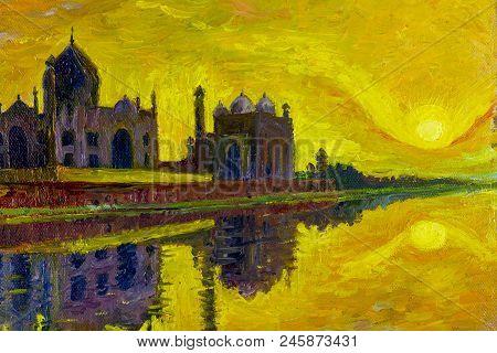 Oil Painting On Canvas Colorful Landscape Illustration. World Famous Landmark Series: Taj Mahal The