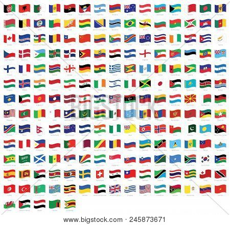 All National World Waving Flags With Names - High Quality Vector Flag Isolated On White Background