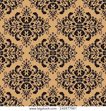 Vintage Wallpaper In The Baroque Style Seamless Vector Background Black And