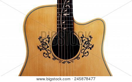 Inlay And Soundhole Of Guitar , Flower Inlay On Fingerboard Around Sound Hole, With Clipping Path, I