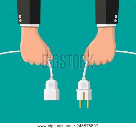 Electrical Outlet And Plug In Hands Unplugged. 404 Error, Page Not Found, Connection Error Or Time O