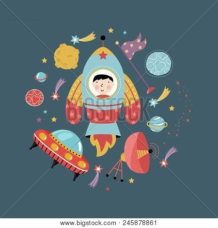 Space Icons In Cartoon Style. Spaceship, Flying Saucer, Cute Aliens, Colorful Stars, Planets, Comets