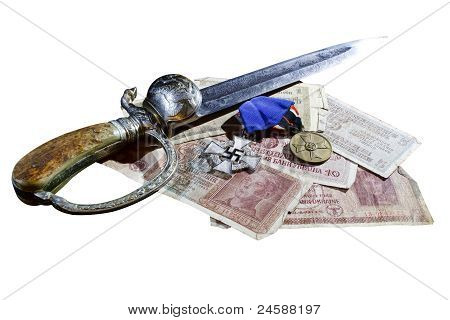 Nazi award a dagger and Reichsmarks isolated on white background poster