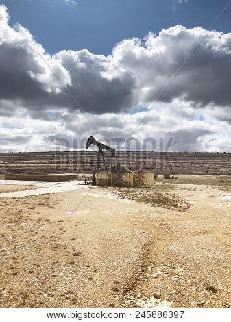 Oil Pumping Equipment. Ayoluengo Petroleum Field. Burgos, Spain. Energy Production