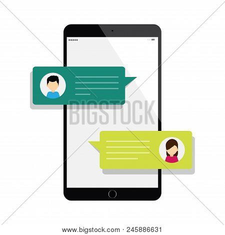 A Man And A Woman Chatting On Personal Cellphone That Have Chat Messages Notification On Smartphone