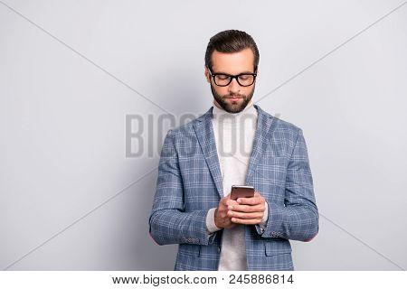 Harsh, Concentrated, Virile, Intelligent Man With Bristle, Hairstyle In Checkered Jacket Using Wifi,