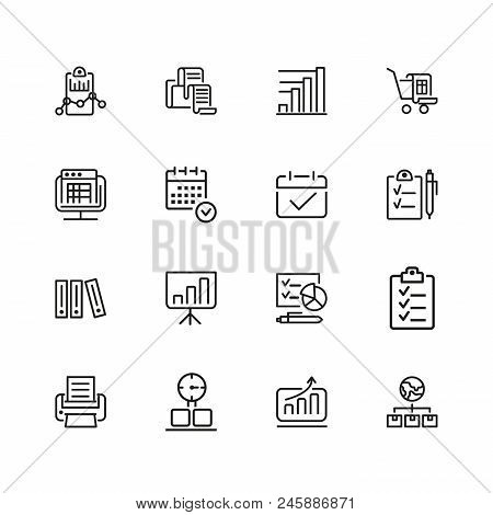 Documents Icons. Set Of  Line Icons. Invoice, Diagram, Report. Document Work Concept. Vector Illustr