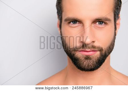 Close Up Cropped Portrait With Copy Space Of Virile, Harsh, Manly, Attractive, Naked, Shaven, Handso