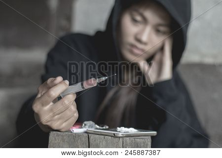 Young Woman With Drug Addiction , The Concept Of Crime And Drug Addiction. 26 June, International Da