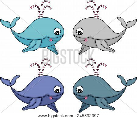 Scalable Vectorial Representing A Cute Whale Set, Element For Design, Illustration Isolated On White