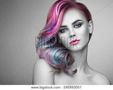 Beauty Fashion Model Girl with Colorful Dyed Hair. Girl with perfect Makeup and Hairstyle. Model with perfect Healthy Dyed Hair. Rainbow Hairstyles poster