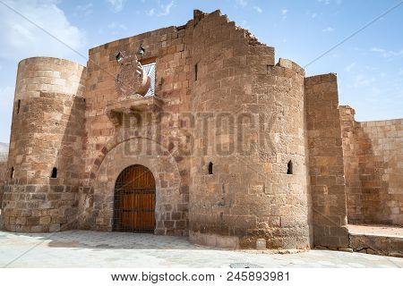 Main Entrance Gate Of Aqaba Fortress, Mamluk Castle Or Aqaba Fort Located In Aqaba City, Jordan