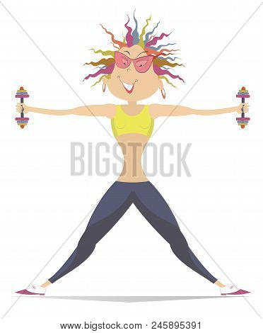 Pretty Young Woman Does Exercises With Dumbbells Isolated. Cartoon Young Woman Does Exercises With D