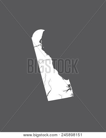 U.s. States - Map Of Delaware. Hand Made. Rivers And Lakes Are Shown. Please Look At My Other Images