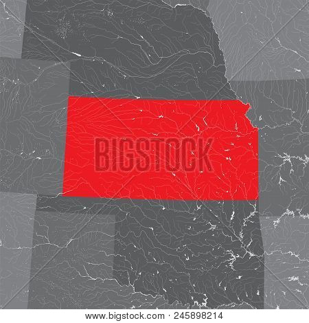 U.s. States - Map Of Kansas. Hand Made. Rivers And Lakes Are Shown. Please Look At My Other Images O