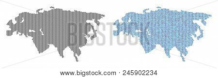 Pixel Eurasia Map Version. Vector Geographic Schemes In Black Color And Blue Color Variations. Abstr