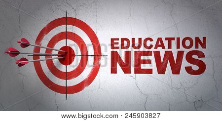 Success News Concept: Arrows Hitting The Center Of Target, Red Education News On Wall Background, 3d