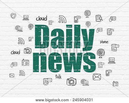 News Concept: Painted Green Text Daily News On White Brick Wall Background With  Hand Drawn News Ico