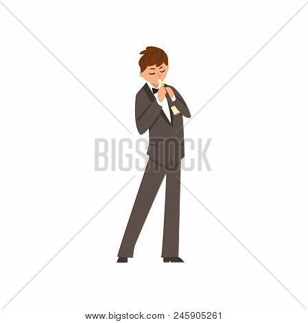Male Musician Playing Flute, Flutist Man Wearing Black Elegant Suit Playing Classical Music Vector I