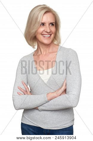 Beautiful Aged Woman Smiling Isolated