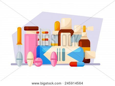 Healthcare, Aid Help. Medical Set: Tablets, Syrups, Drops, Ointments, Equipment. Healthcare And Medi