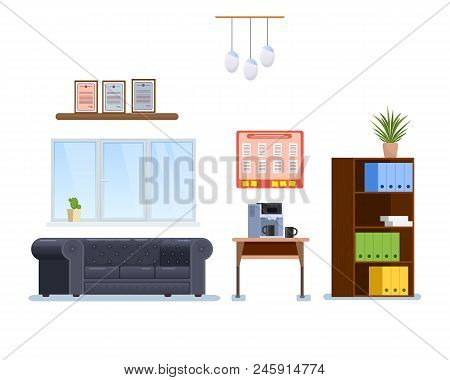 Interior Office Cabinet Room With Furniture, In Form Armchairs And Classic Table, Windows With Shutt