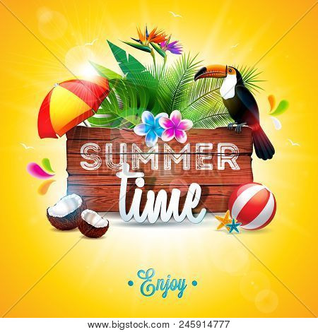 Vector Summer Time Holiday Typographic Illustration With Toucan Bird On Vintage Wood Background. Tro