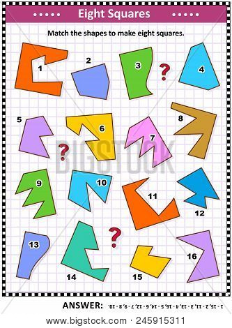 Iq And Spatial Skills Training Math Visual Puzzle: Match The Shapes To Make Eight Squares. Answer In