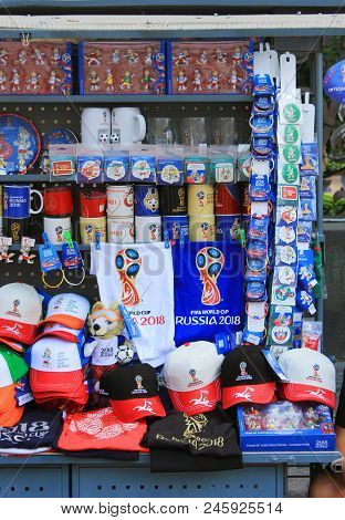 St. Petersburg, Russia - June 18, 2018: Official Souvenirs Of Fifa 2018 World Cup In Russia. Symboli