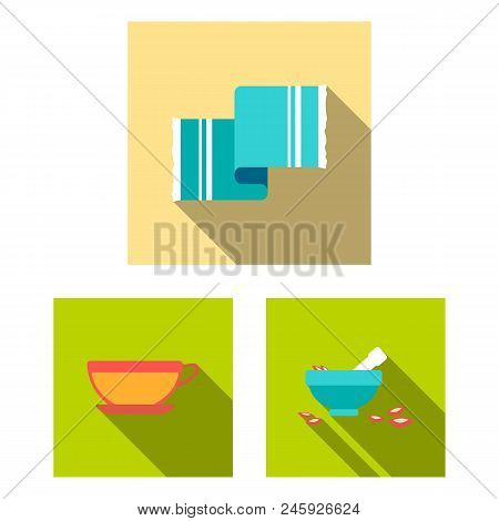 Spa Salon And Equipment Flat Icons In Set Collection For Design. Relaxation And Rest Vector Symbol S