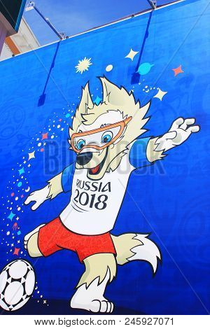 St. Petersburg, Russia - June 18, 2018: Zabivaka Official Mascot Of Fifa 2018 World Cup In Russia. S