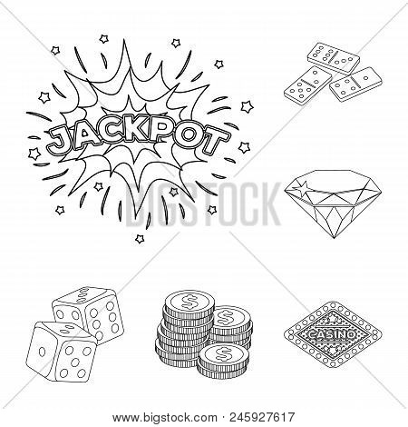 Casino And Gambling Outline Icons In Set Collection For Design. Casino And Equipment Vector Symbol S