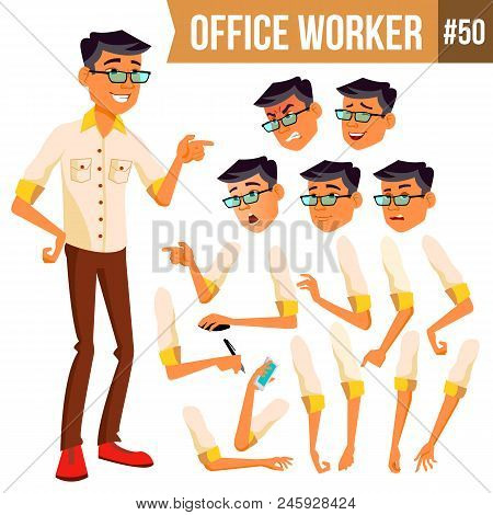 Office Worker Vector. Face Emotions, Various Gestures. Animation. Business Worker. Career. Professio