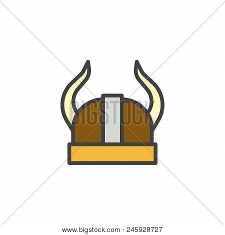 Viking Helmet Filled Outline Icon, Line Vector Sign, Linear Colorful Pictogram Isolated On White. He